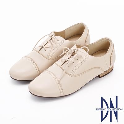 DN休閒鞋_MIT柔軟羊皮綁帶低跟牛津鞋-米白