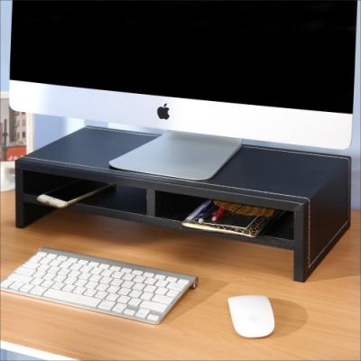BuyJM低甲醛仿馬鞍皮雙層桌上架/螢幕架