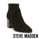STEVE MADDEN-JILLIAN 高質感 平穩粗跟絨面後拉鍊跟靴-絨黑