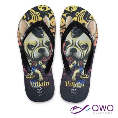 QWQ 男款防滑夾腳人字拖鞋-海灘玩水-耐磨好穿-Villain Dog-黑(ABBA01405)