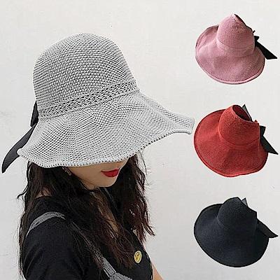 幸福揚邑 蝴蝶結空頂可捲收防曬抗UV大帽檐遮陽帽(灰、粉、磚紅、黑)