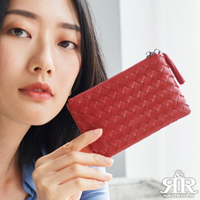 2R 細呢羊皮soft編織手感零錢包 亮麗紅
