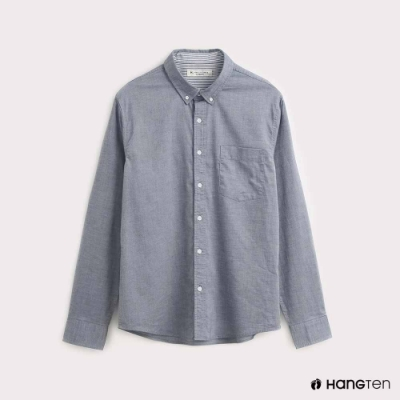 Hang Ten-男裝質感純色牛津襯衫-灰藍