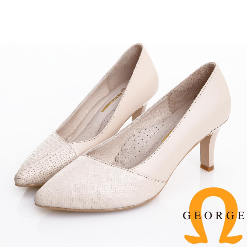 GEORGE 喬治皮鞋 職場通勤 柔軟羊皮質感斜壓紋中跟鞋 -米白