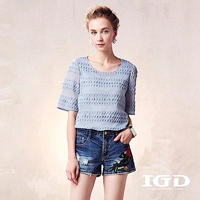IGD英格麗 蕾絲條紋網眼上衣-藍