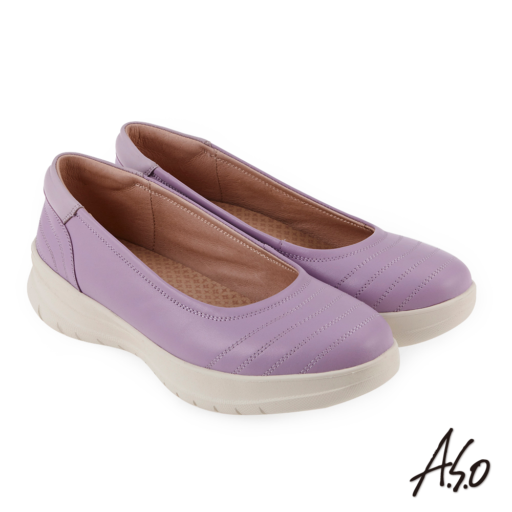 A.S.O 休閒雅致 3D彈力質感氣墊休閒鞋 淺紫