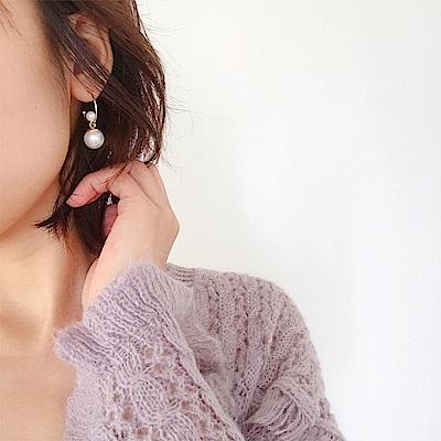 梨花HaNA 韓國小眾設計感法式珍珠雙面珍耳環小店長自留