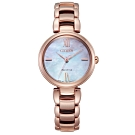 CITIZEN  L 光動能珍珠貝時尚手錶EM0532-85D-玫瑰金/29mm
