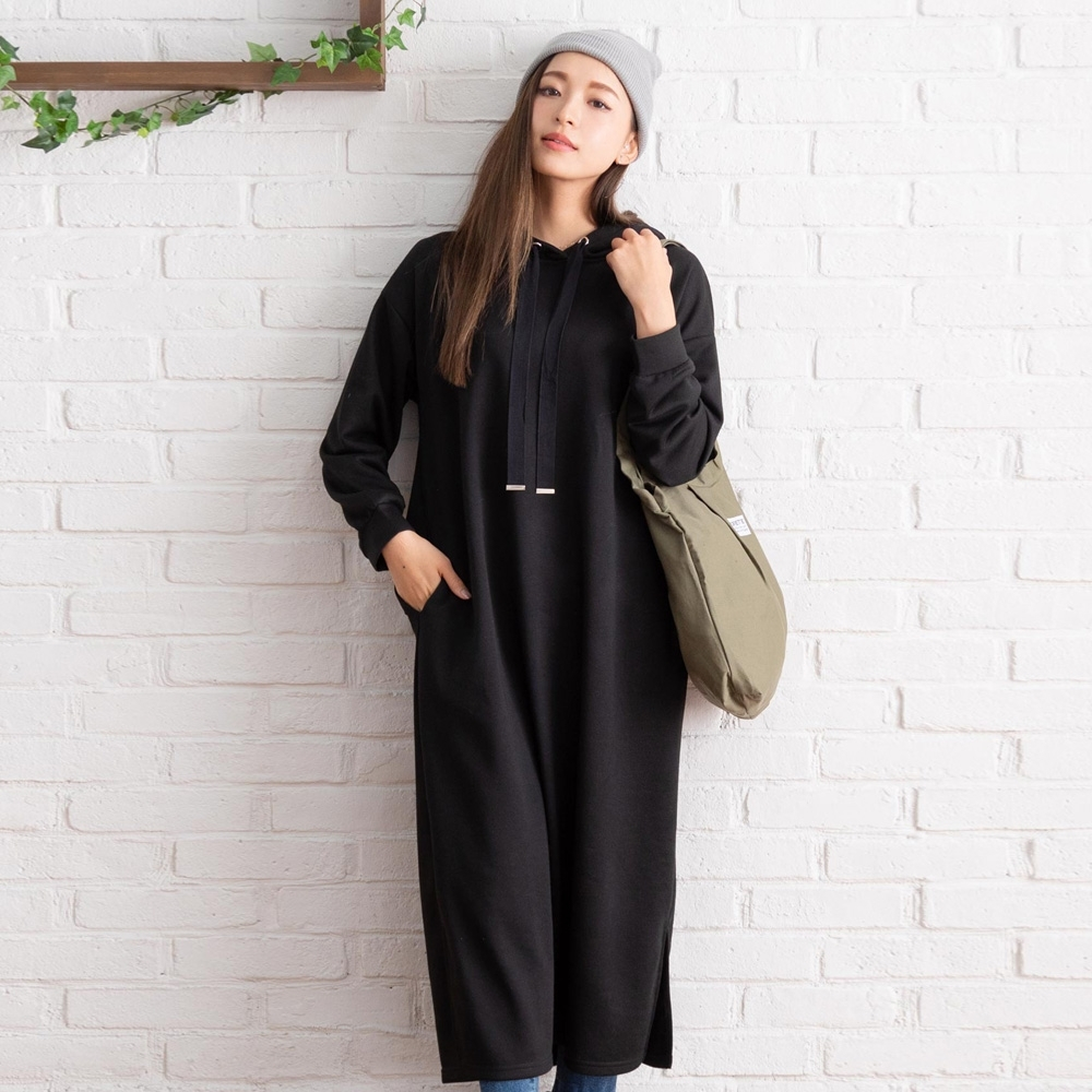 夢展望 素色高含棉帽T長版上衣-M(共三色)
