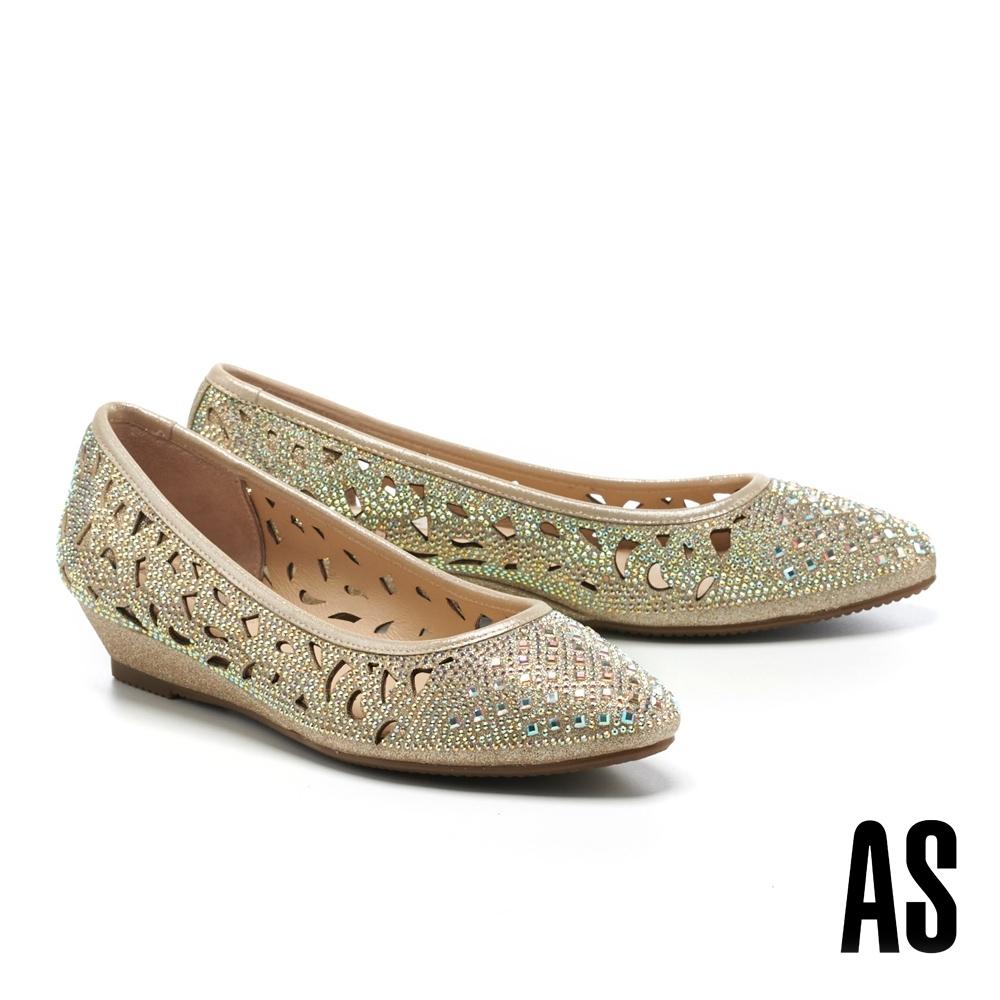 低跟鞋 AS 絢麗閃耀沖孔造型金蔥布尖頭楔型低跟鞋-金