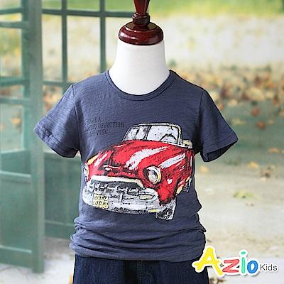 Azio Kids 上衣 字母跑車印花短袖竹節棉T恤(深藍)
