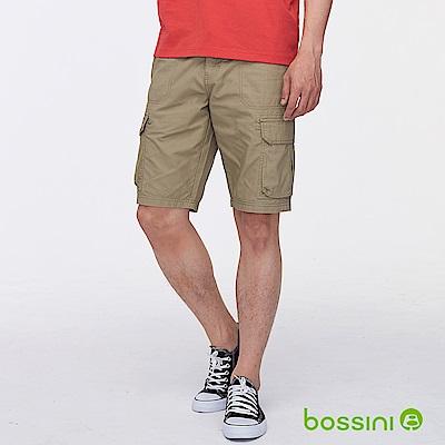 bossini男裝-素色雙口袋休閒短褲卡其