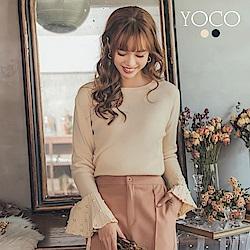 東京著衣-yoco 浪漫名媛珍珠喇叭百褶袖針織長袖上衣-S.M.L(共二色)