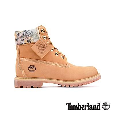 Timberland 女款小麥色磨砂革花型圖案鞋領六吋靴|A22AY