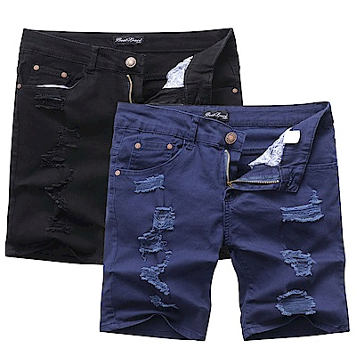 Monkey Shop 韓版設計韓系水洗破壞彈力短褲-2色