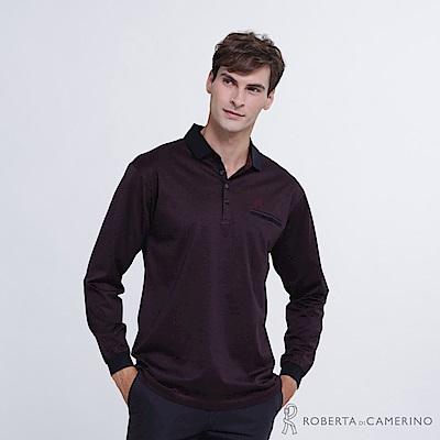ROBERTA諾貝達 台灣製 紳士品味 長袖POLO棉衫  深紅