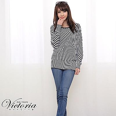 Victoria 不對稱條紋變化線衫-女-丈青
