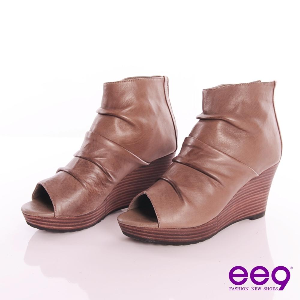 ee9 雅緻魅力 進口小羊皮面摩登露趾後拉鍊高跟厚底踝靴 氣質可