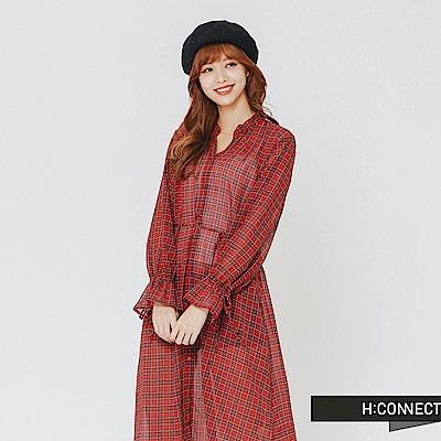 H:CONNECT 韓國品牌 女裝-格紋縮腰微透膚洋裝-紅