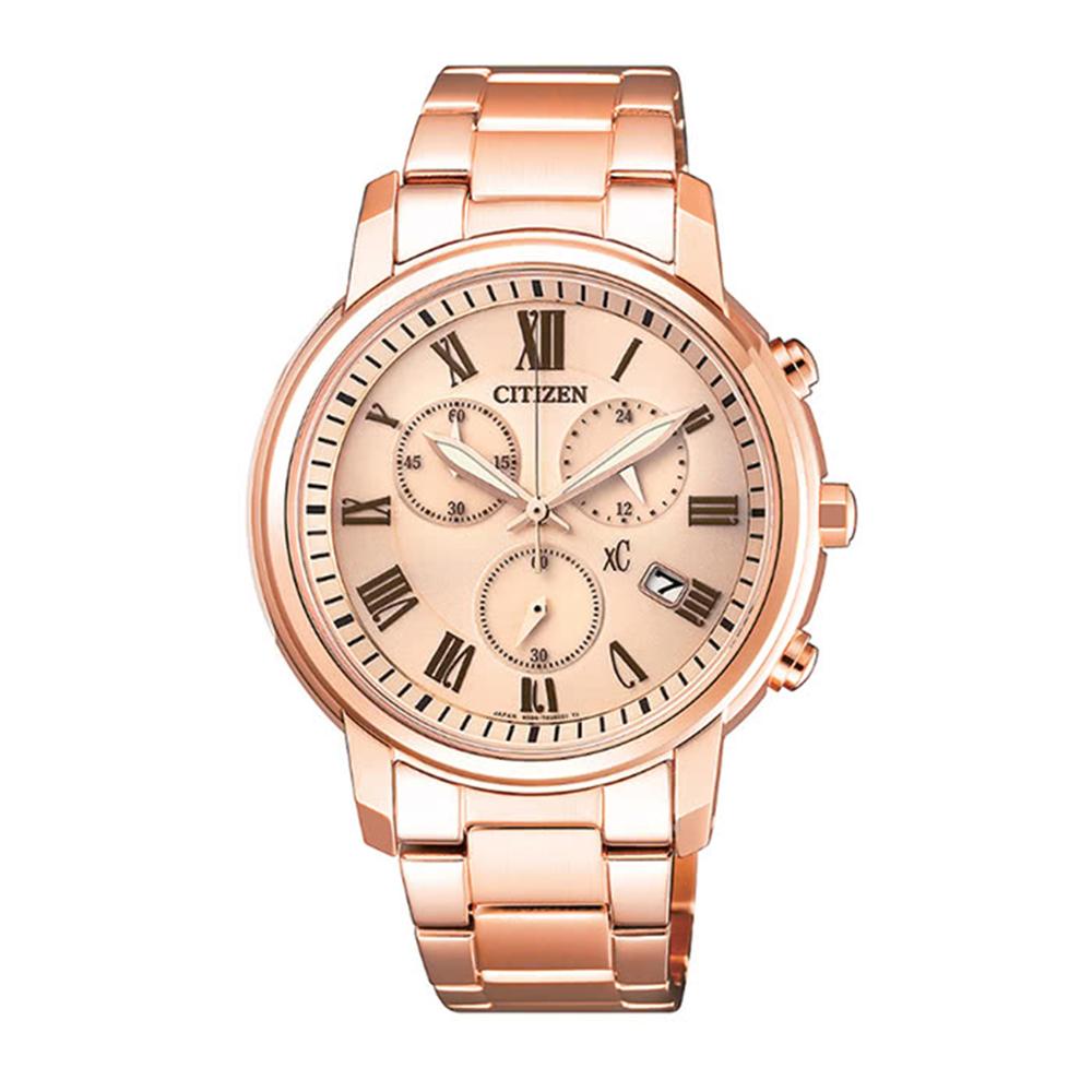 CITIZEN星辰 XC系列時尚知性光動能計時女用腕錶-玫瑰金FB1432-55X