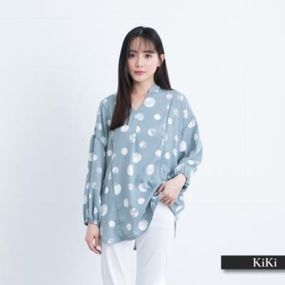 【KiKi】圓形拓印元素-襯衫(二色/版型寬鬆)