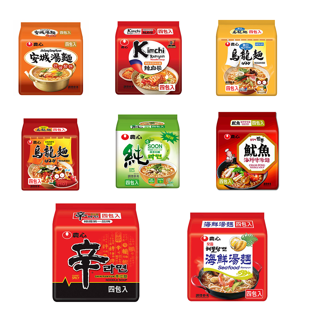 農心泡麵4入/組(辛拉麵/安城/泡菜/爽口海鮮/蔬菜/香辣海鮮/魷魚海鮮/海鮮)8選1