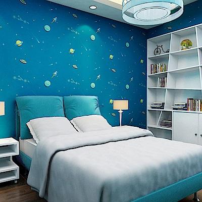 半島良品 防水PVC自黏裝飾牆紙45x200cm-宇宙星空