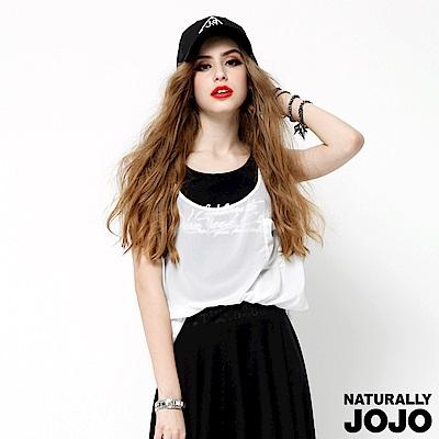 【NATURALLY JOJO】前口袋假兩件式上衣(黑X白)