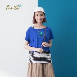 【Dailo】可愛仙人掌圖案兩件式-上衣(四色)