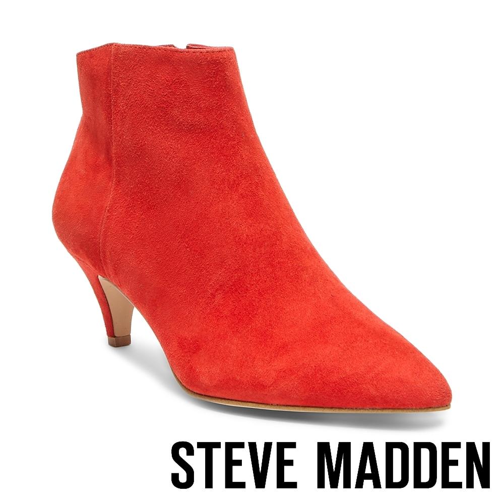 STEVE MADDEN-RICHTER個性尖頭低跟拉鍊短筒靴-絨紅色