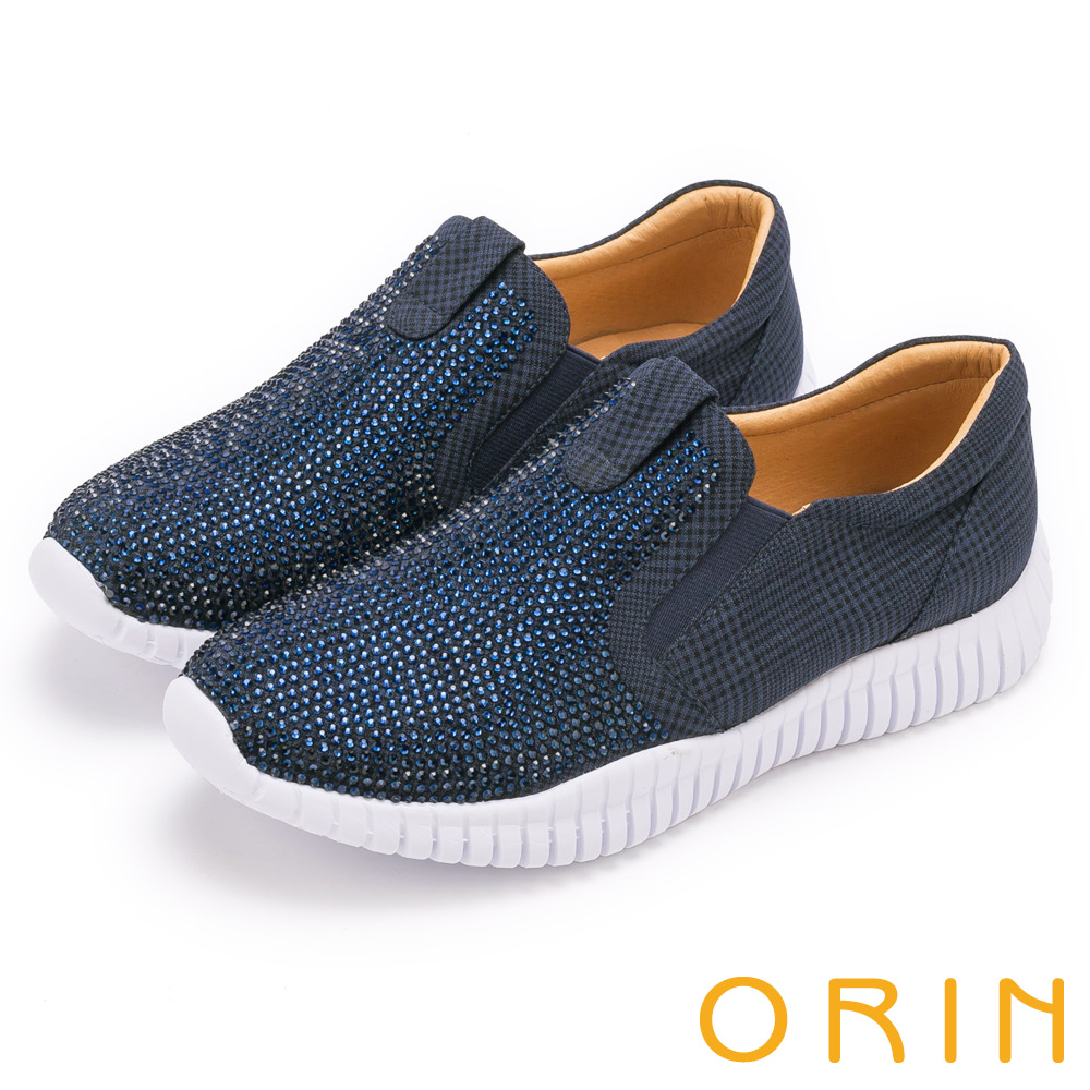 ORIN 時尚渡假風 千鳥格燙鑽平底休閒鞋-藍色