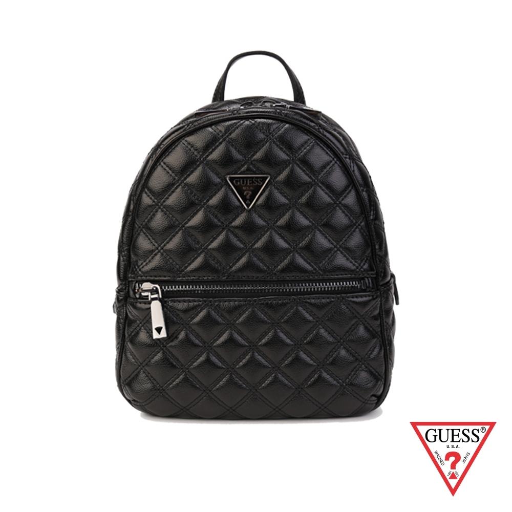GUESS-女包-時尚菱格鍊條後背包-黑 原價3490