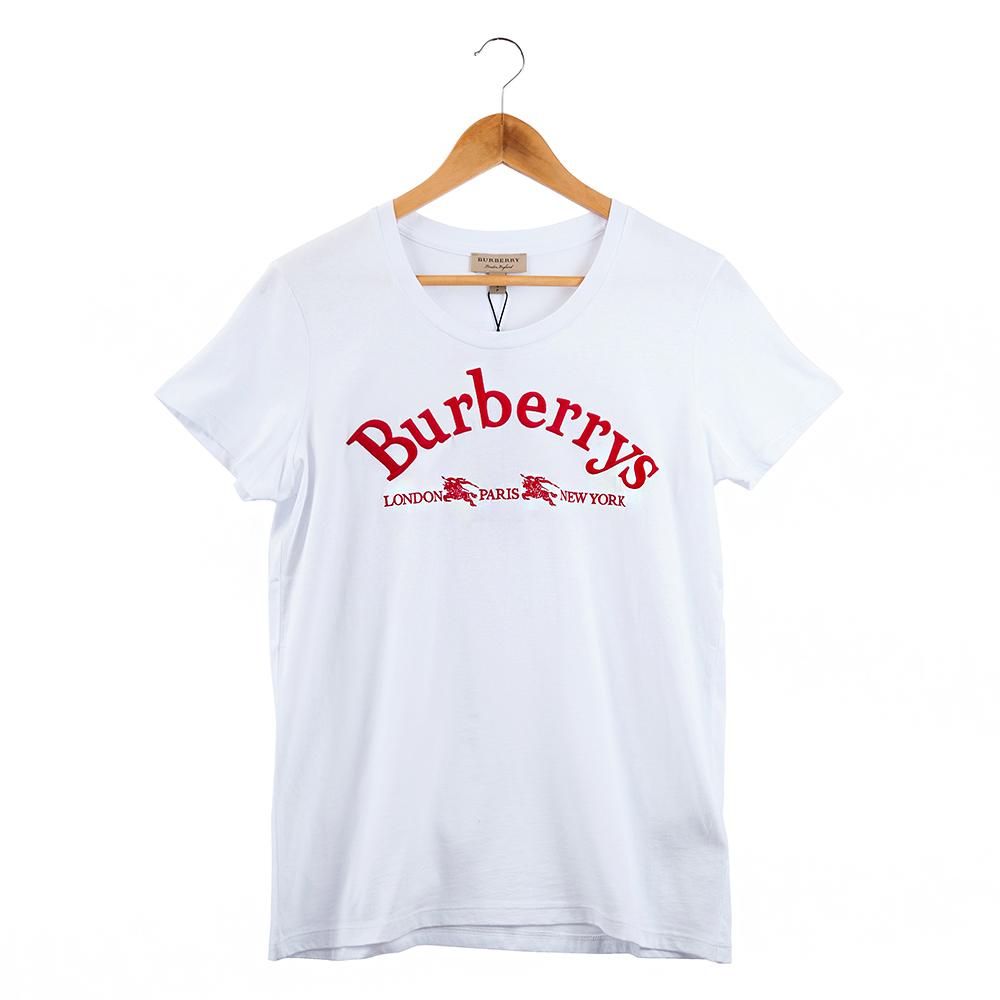 BURBERRY 典藏徽標繡飾棉質T 恤 (白色紅字)