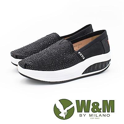 W&M BOUNCE系列 厚底增高鞋 女鞋-亮鑽黑(另有亮鑽金粉)