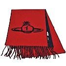 Vivienne Westwood 義大利製行星LOGO雙面撞色配色羊毛圍巾(紅/藍色)