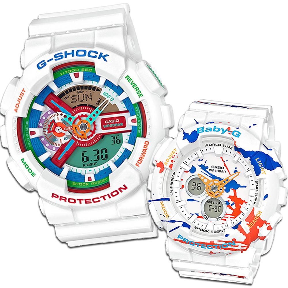 CASIO街頭文化搶色藝術風格休閒錶(BA-120SPL-7A+GA-110MC-7A)