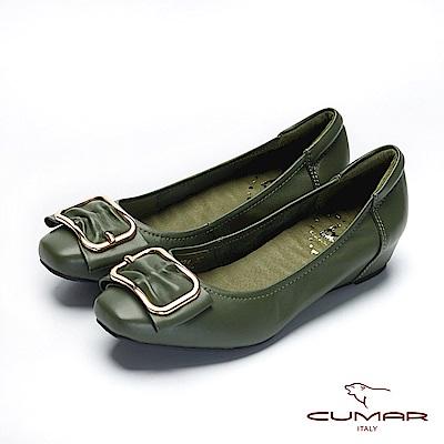 bac愛趣首爾 - 小方頭簡約金屬飾釦內增高娃娃鞋-綠