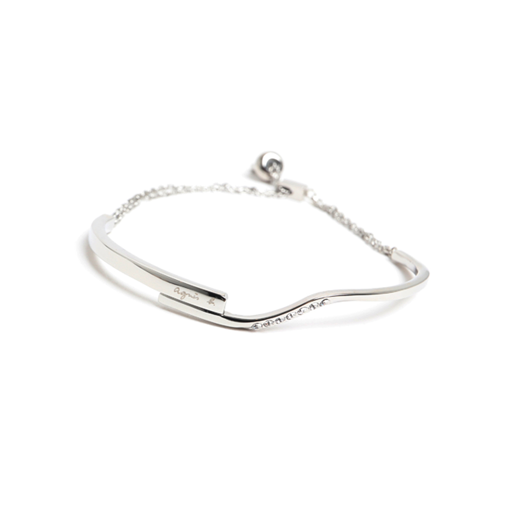 agnes b. LOGO可調式白鋼手環