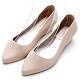 River&Moon防水鞋 晴雨二穿超Q軟極簡素面尖頭楔型跟鞋 裸膚米 product thumbnail 1