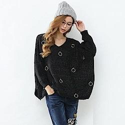 KT 圈圈裝飾連袖毛衣-黑
