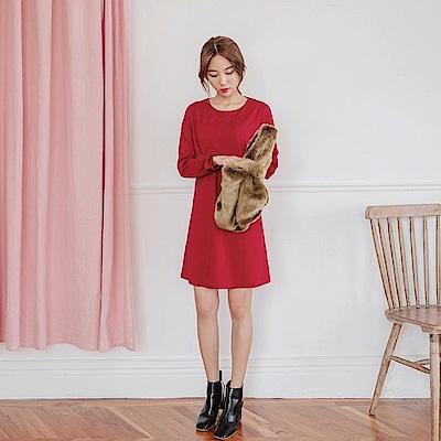 純色蝴蝶結袖造型圓領長版洋裝-OB嚴選