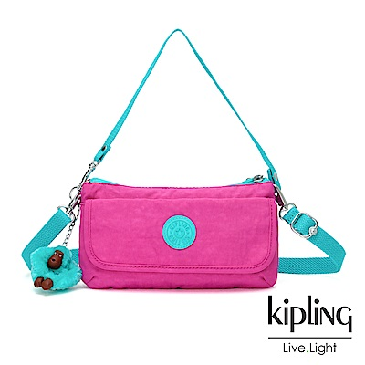 Kipling 糖果色調螢光粉x薄荷綠撞色翻蓋肩背側背包-VECKA STRAP