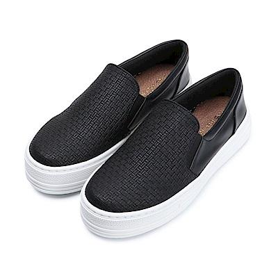 BuyGlasses 個性派真皮厚底懶人鞋-黑