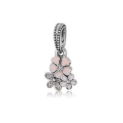 Pandora 潘朵拉 垂墜粉色詩意鑲鋯花卉 純銀墜飾 串珠