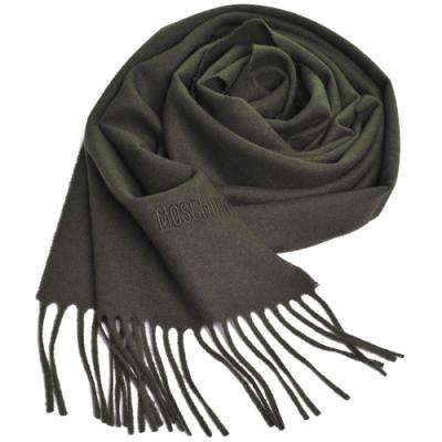 MOSCHINO 義大利製美麗諾羊毛字母LOGO刺繡高質感羊毛圍巾(軍綠色)