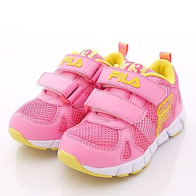 FILA頂級童鞋款 雙層輕量慢跑款EI23P-229桃黃(小童段)0