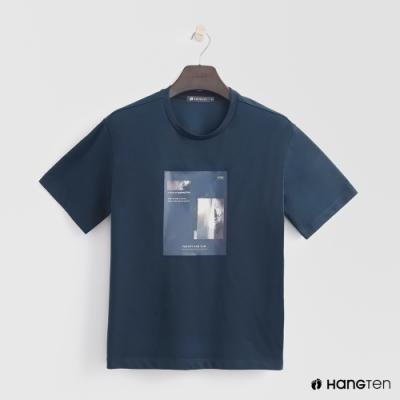 Hang Ten - 女裝 - 韓系簡約圓領圖片T桖-藍