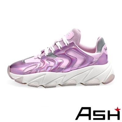 ASH-EXTREME時尚潮流波浪纹拼接增高厚底老爹鞋-粉