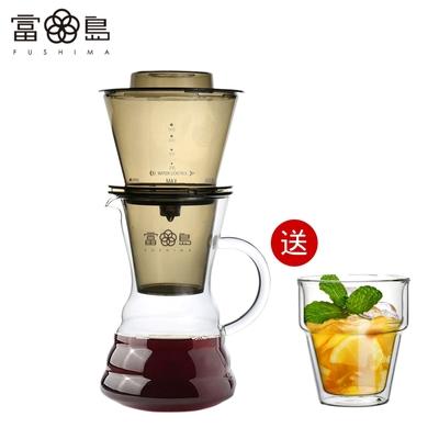 [送雙層玻璃杯] FUSHIMA富島 台灣製冰魔滴式咖啡壺750ML(附丸型濾紙20入)