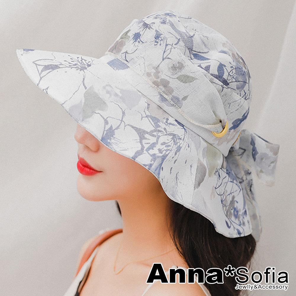 【出清3件5折】AnnaSofia 清透花嵐綁帶 防曬遮陽寬簷漁夫淑女帽(灰藍系)